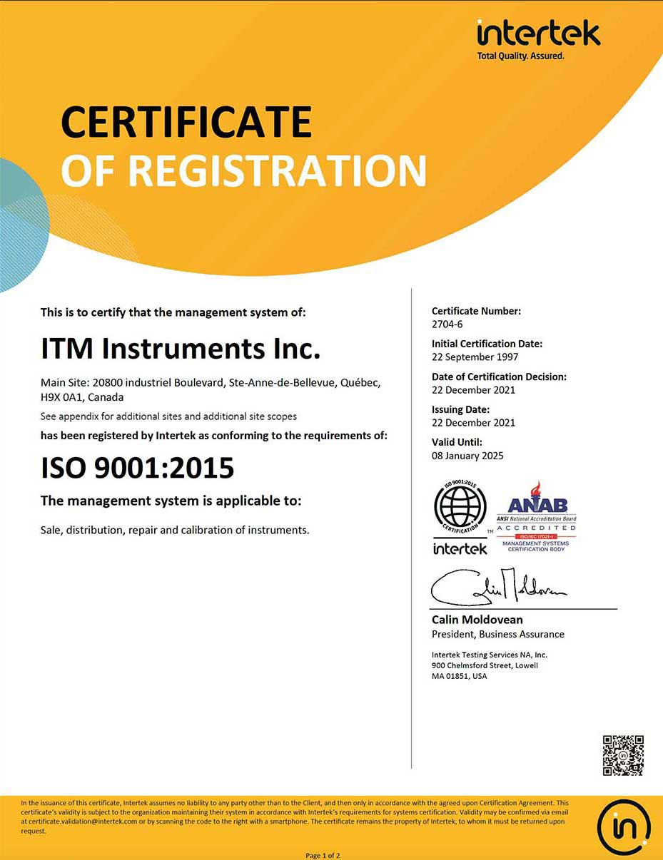 ITM Instruments ISO Certification