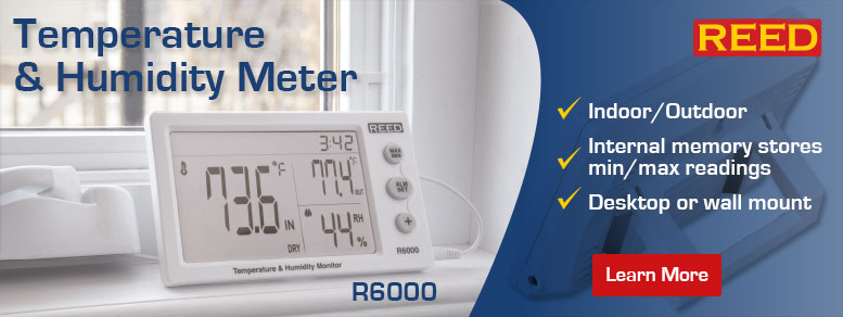 Measure indoor/outdoor temperature and humidity with the REED R6000. Features an internal memory that stores maximum and minimum readings.