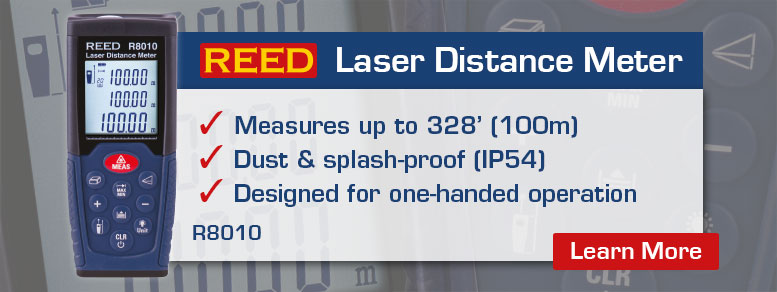 Measure up to 328 feet (100 meters) with the REED R8010 Laser Distance Meter. Designed for one-handed operation, this meter is dust and splash proof (IP54)