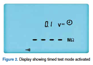 Figure 2: Display showing timed test mode activated