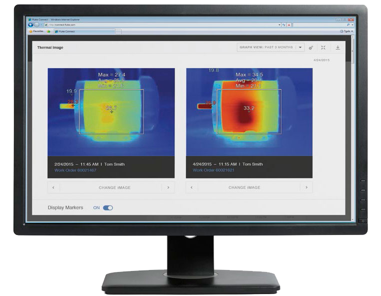 Comparing two thermal images to the baseline reading