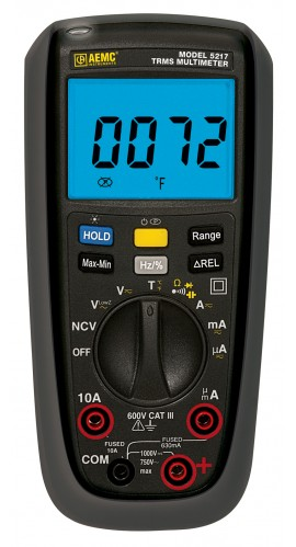 AEMC 5217 True RMS Multimeter with Frequency/Duty Cycle, 6000 counts, 750V  AC/1000V DC