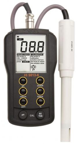 Hanna Hi 9813 6 Portable Phectdstemperature Meter With Cal Check