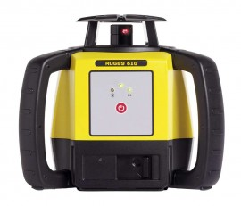 Leica 6011150 Rugby 610 Rotating Laser with Rod Eye 120 and alkaline battery pack-