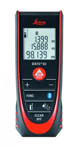 "Leica 837031 DISTO D2 Laser Distance Meter, 0.16 up to 330', ±0.063""-"