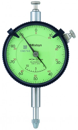 Mitutoyo 2048SB-10 Series 2 Special Flat-Back Dial Indicator, 10 mm, 0.01 mm graduation-