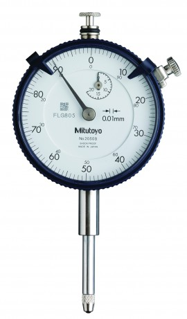 Mitutoyo 2050SB-01 Series 2 ANSI/AGD Flat-Back Dial Indicator, 20 mm, 0.01 mm graduation-