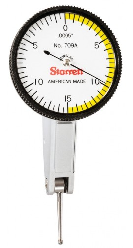"Starrett 709AZ Dial Test Indicator with dovetail mount, 0.03"" range, 0 to 15 to 0 reading-"